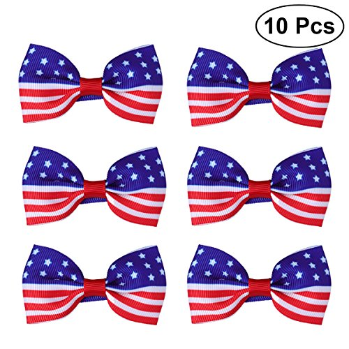 LUOEM American Flag Children's Hair Bow Patriotic Hair Bow Kids Baby Girls Hairpins for Independence Day 4th of July National Day 10 Pcs