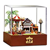 Flever Dollhouse Miniature DIY House Kit Creative Room With Furniture and Cover for Romantic Valentine's Gift(Carousel Garden-Edition of Sunny)