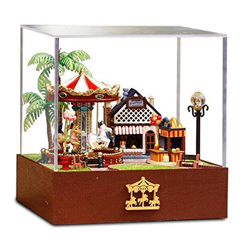 Flever Dollhouse Miniature DIY House Kit Creative Room with Furniture and Cover for Romantic Valentine's Gift(Carousel Garden-Edition of ()
