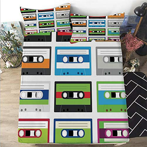 """Mattress Cover Twin size 3D Printed Decorative Quilted 1 Piece Coverlet Set with 2 Pillows,90s,Collection of Retro Plastic Audio Cassettes Tapes Old Technology Entertainment Theme,Green Blue,12""""Deep"""
