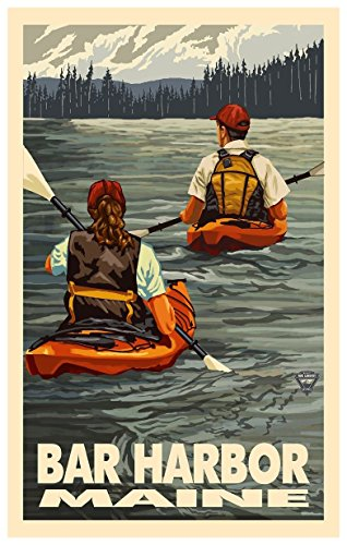 Bar Harbor Maine Kayakers Travel Art Print Poster by Paul A. Lanquist (12