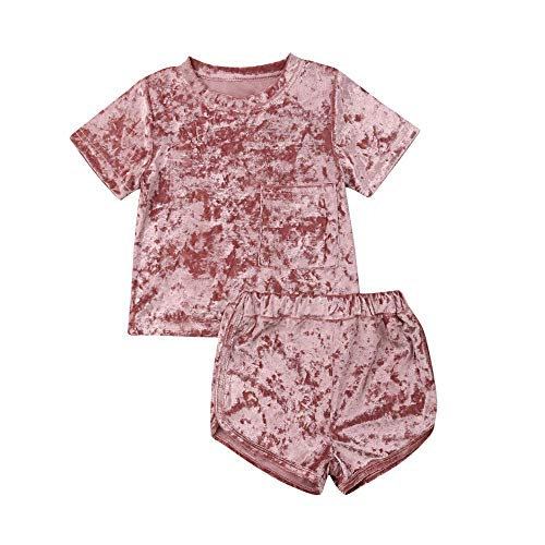 GOOCHEER 2 Pcs Fashion Toddler Kids Baby Girls Velvet Clothes Outfit Shorts Set (2-3 Years, Pink (Short Sleeve))