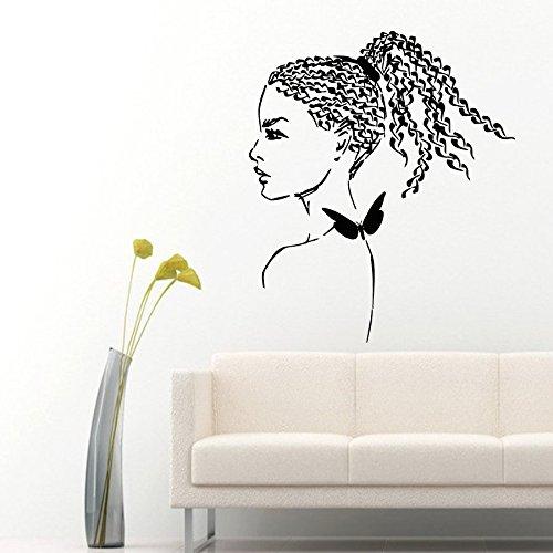Wall Decor Vinyl Decal Sticker Girl Model Beauty Braiding Salon (Wall Mural Model)