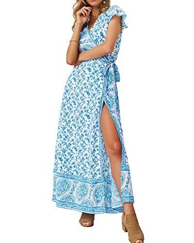 (Yoonsoe Women's Summer Boho Floral Print Maxi Dress V Neck Split Long Party Wrap Dresses, Sky Blue, S)