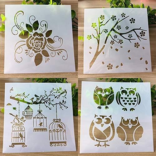 MITIN 4 Pcs Owl Layering Stencils for DIY Scrapbooking Photo Album Decoration Cake Hollow Embellishment