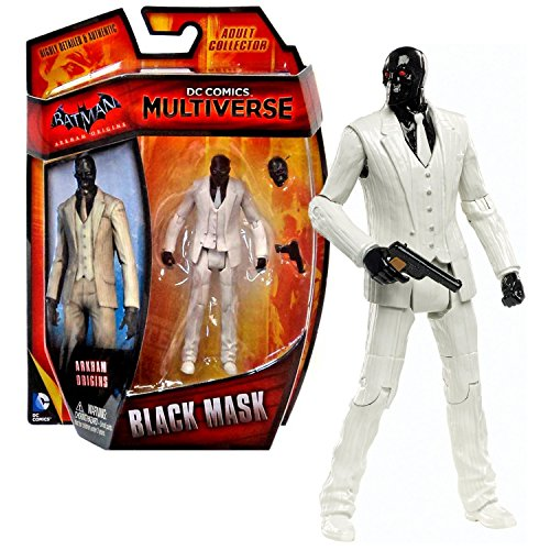 "Mattel Year 2014 DC Comics Multiverse ""Batman Arkham Origins"" Series 4 Inch Tall Action Figure - Roman Sionis aka BLACK MASK with Additional Head and Gun"