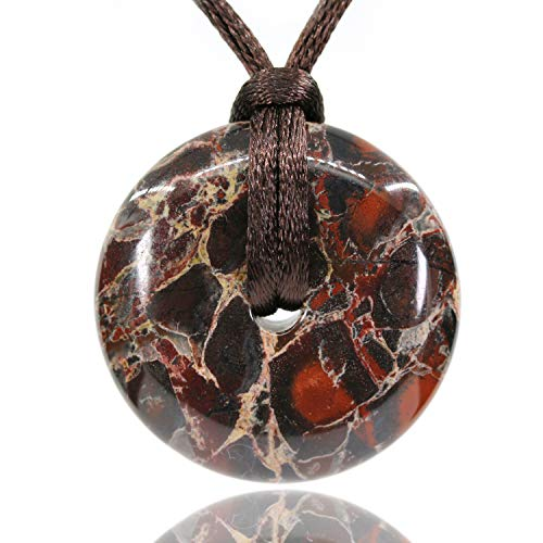 AMANDASTONES Natural Poppy Jasper Gemstones Peace Donut 30M Beads Adjustable Braided Macrame Tassels Pendant Unisex