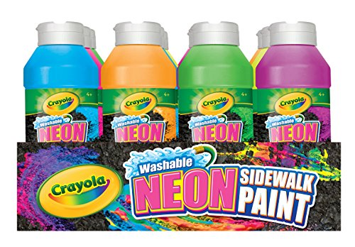 Crayola Washable Neon Sidewalk Paint 6 Color Variety Pack, 8 Ounce Bottles (12 Count) Outdoor Art Gift for Kids 4 & Up, Easy Clean, Combines w Sidewalk Chalk to Create Vivid Outdoor Creations (Best Paint For Sidewalks)