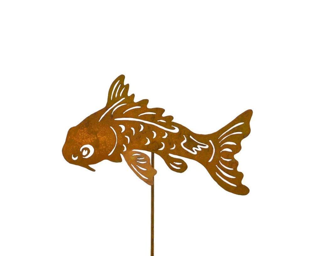 Oregardenworks Koi Fish Metal Yard Stake, Whimsical Garden Idea, Metal Garden Art, Outdoor Lawn and Patio Decor