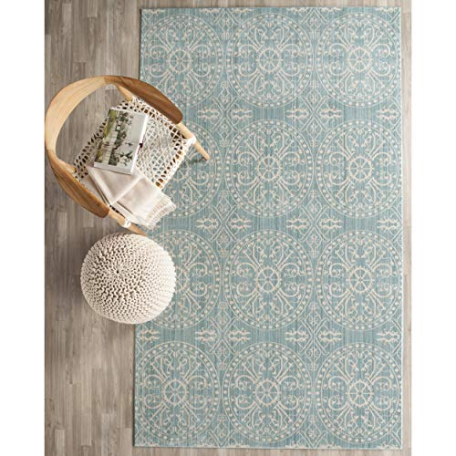 Safavieh Valencia Collection VAL214G Alpine and Cream Vintage Distressed Silky Polyester Area Rug 5 x 8