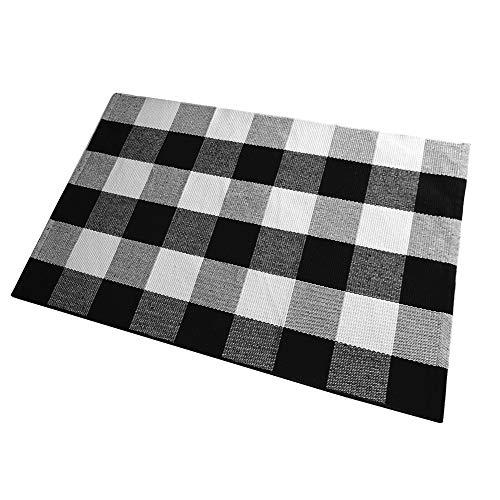 Checkered Outdoor Rug: Amazon.com: Ukeler Plaid Rug Outdoor Mat Decor- Cotton