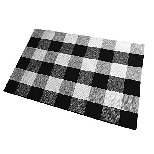 Ukeler Plaid Rug Outdoor Mat Decor- Cotton Handmade Buffalo Checkered Plaid Rug for Front Porch Door 2'×3'