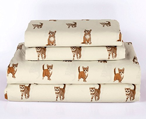 Cat Kitten Queen Size 4 Piece Sheet Set Microfiber Bedding, Orange Tabby Kitty Pet Animal Lover Gift