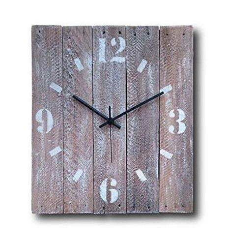 Large Decorative Wall Clock 15-inch - Wood Rustic Original - Silent Non Ticking Quartz for Home