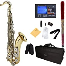 Mendini B-Flat Tenor Saxophone, Gold Lacquered with Nickel Plated Keys and Tuner, Case - MTS-LN+92D