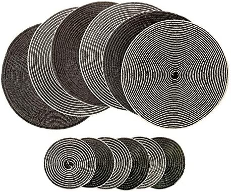 U'Artlines Placemats Indoor & Outdoor Round Cotton Table Mats with Coasters, Perfect for Fall, Dinner Parties, BBQs, Christmas Parties and Everyday Use (6pcs placemats+6pcs Coasters, A Coffee) – The Super Cheap