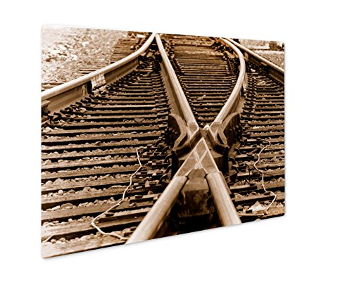Midwest Panel 8 Container (Ashley Giclee Railyard Trackage In Sepie, Wall Art Photo Print On Metal Panel, Color, 8x10, Floating Frame, AG6391234)