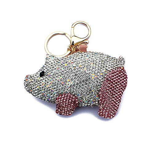 BabYoung Handmade Diamonds Bling Cute Pig Shape Keychains for Car, The Other Side Made of PU Leather (Pink)