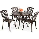 Best Choice Products 5-Piece Cast Aluminum Patio Dining Set w/ 4 Chairs, Umbrella Hole, Lattice Weave Design – Brown For Sale