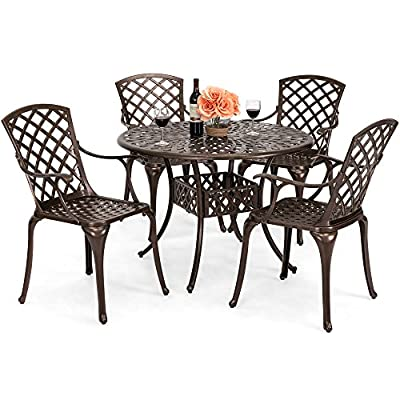 Best Choice Products 5-Piece All-Weather Cast Aluminum Patio Dining Set w/ 4 Chairs, Umbrella Hole, and Lattice Weave Design, Brown - ALL-WEATHER, RUST-RESISTANT DESIGN: This beautiful 5-piece patio dining set is made to last with all-weather, rust-resistant cast aluminum to endure any weather COMFORTABLE CONTOURED CHAIRS: Each chair has a contoured shape and curved armrests for exceptional comfort as you gather with friends and family BEAUTIFUL LOOK: The elegant lattice-weave design looks beautiful in any outdoor setting, like your patio, backyard, or by the poolside - patio-furniture, dining-sets-patio-funiture, patio - 51kKHB6n1 L. SS400  -