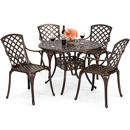 Best Choice Products 5-Piece Cast Aluminum Patio Dining Set w/ 4 Chairs, Umbrella Hole, Lattice Weave Design - Brown -
