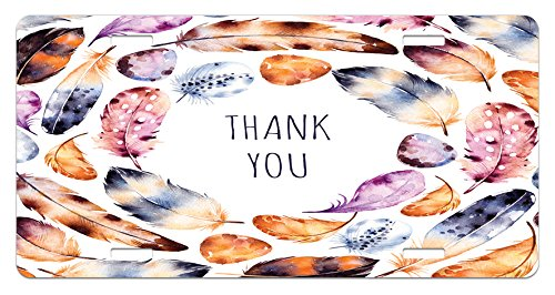 - Ambesonne Tribal License Plate, Bird Hawk Colored Feathers with Hand Written Thank You Note in The Middle Print, High Gloss Aluminum Novelty Plate, 5.88