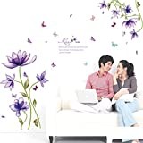 Best Wall Stickers For Bedroom Sofas - Amaonm Hot Fashion Creative Purple Fantasy Flowers Wall Review