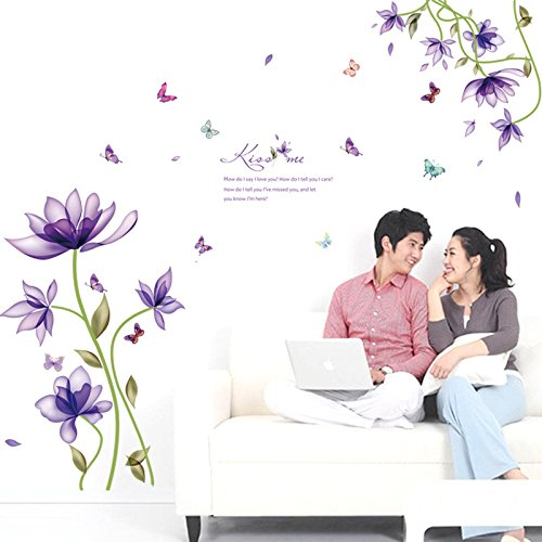 Amaonm Hot Fashion Creative Purple Fantasy Flowers Wall Decals Kids room Wall art Decor Flower Vines Wall Stickers Murals for BedrooM living room TV Sofa Background Decorations