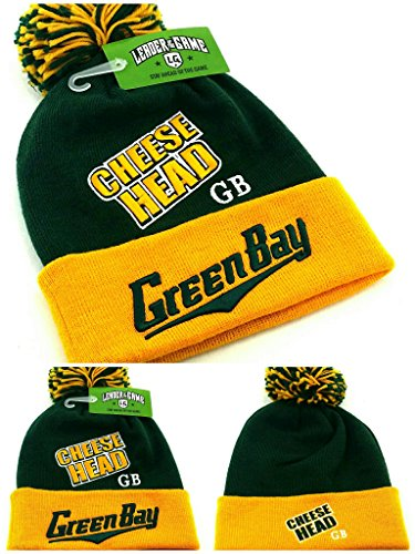 Green Bay New Top Pro Knit Beanie Pom Cheese Head Packers Colors Green Gold Era Hat Cap]()