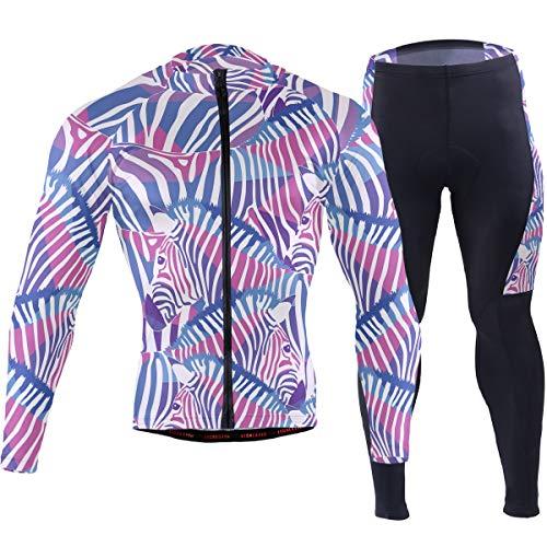Watercolor Purple Zebra Pattern Men's Cycling Jersey Set Breathable Quick-Dry MTB Road Bike Luxury