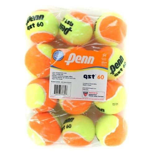 Penn QST 60 Tennis Balls - Youth Felt Orange Tennis Balls for Beginners, 12 Ball Polybag ()