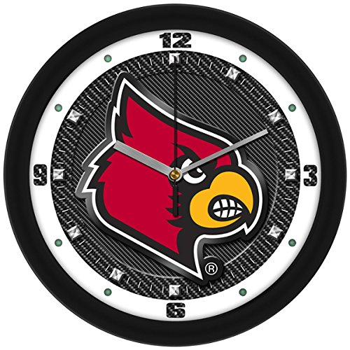 SunTime NCAA Louisville Cardinals Textured Carbon Fiber Wall Clock
