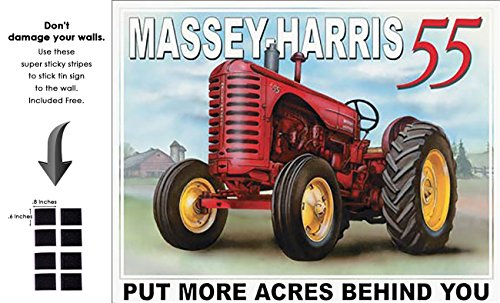 (Shop72 - AGCO Corporation Massey Harris - 55 Tin Sign Retro Vintage Distrssed - with Sticky Stripes No Damage to Walls )
