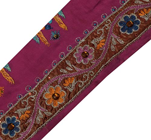 Vintage Sari Border Indian Craft Sewing Trim Hand Beaded Embroidered Ribbon Lace