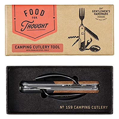 Gentlemen's Hardware On-the-Go Travel and Camping Detachable Cutlery 6-in-1 Multi Tool, Wood