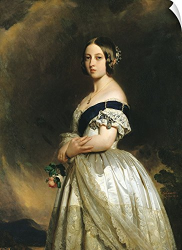 "Canvas on Demand Franz Xaver Winterhalter Wall Peel Wall Art Print entitled Queen Victoria (1837-1901) 1842 44""x60"""