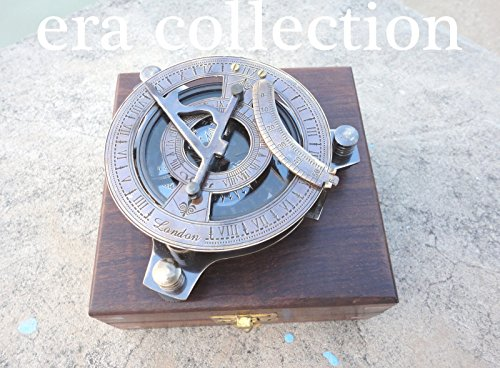 Eraコレクション日時計コンパスソリッド真鍮by日時計コンパス4 inch sundialコンパス4 inch sundialコンパスdecor compass forハイキングMarine 4インチコンパスアウトドアGarden LargeアンティークNauticalケース