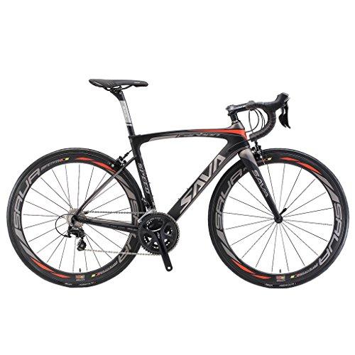 SAVADECK Herd 6.0 T800 Carbon Fiber 700C Road Bike Shimano 105 5800 Groupset 22 Speed Carbon Wheelset Seatpost Fork Ultra-Light 18.3 lbs Bicycle Black Grey 50cm