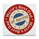 CafePress - World's Best Dad Of Twin Boy Girl - Tile Coaster, Drink Coaster, Small Trivet
