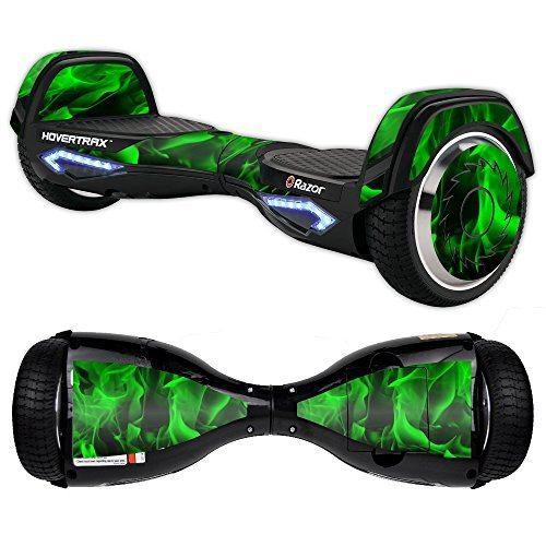Mightyskins Skin Compatible With Razor Hovertrax 2.0 Hover Board - Green Flames | Protective, Durable, And Unique Vinyl Decal Wrap Cover | Easy To Apply, Remove, And Change Styles | ()