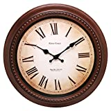 Kiera Grace Doone Round Wall Clock, 16-Inch, 2-Inch Deep, Brushed Dark Brown