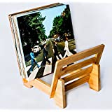 ZonsWorld Bamboo Vinyl Record Holder Environmentally Eco Friendly Modern Trendy & Stylish Display Stand Quality Design to Hold 50+ LP Music Storage Rack (Bamboo)