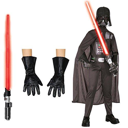 Star Wars Darth Vader Costume Bundle - Child Small Costume, Gloves & Lightsaber