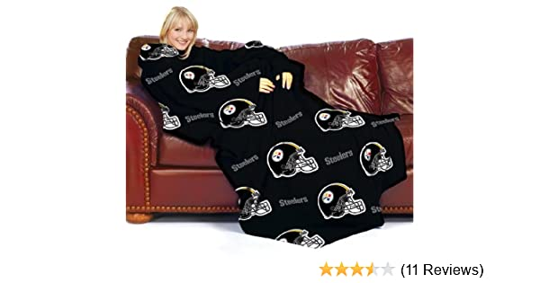 03c3d2505 Amazon.com  Pittsburgh Steelers Adult Comfy Throw Blanket with Sleeves   Sports   Outdoors