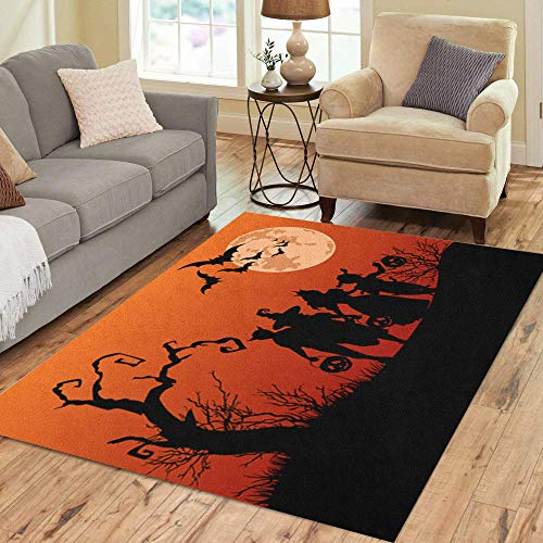 Semtomn Area Rug 5' X 7' Orange Halloween Silhouettes of Children Trick Treating in Costume Home Decor Collection Floor Rugs Carpet for Living Room Bedroom Dining Room -