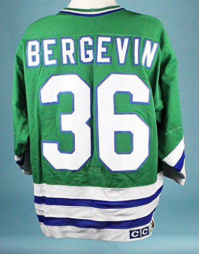 1989-90 Marc Bergevin Hartford Whalers Game Worn Signed Jersey MEARS A10 - Whalers Hartford Game