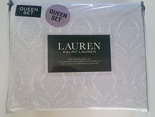 Ralph Lauren Yellow Paisley - Lauren Ralph Lauren Queen Size Sheet Set Medallion Paisley Gray White 100% Cotton