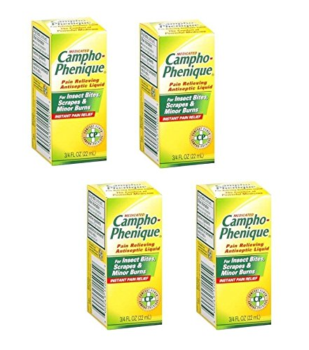 Campho-phenique Pain and Itch Relieving Antiseptic Liquid for Insect Bites, Scrapes & Minor Burns: 4 Packs of 0.75 Fl Oz
