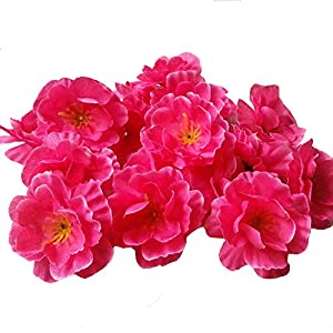 "Colorfulife Artificial 1.8"" Silk Plum Blossom Peach Sakura Cherry Head Flower Heads Wedding Floral Supplies Bridal Hair Clips Headbands DIY Accessories (100, Hot Pink) 7"
