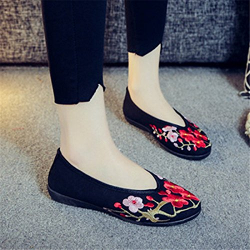 Black y The China Comfortable and Base de Summer Zapatos verano Zapatos and de Tacón otoño primavera Embroidered with Flat Versatile Shoes Spring Wind a RFF wfISzqW